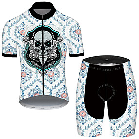 cheap Cycling & Motorcycling-21Grams Men's Short Sleeve Cycling Jersey with Shorts Summer Nylon Polyester Black / Blue Sugar Skull Skull Floral Botanical Bike Clothing Suit 3D Pad Ultraviolet Resistant Quick Dry Breathable