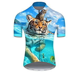 cheap Cycling & Motorcycling-21Grams Men's Short Sleeve Cycling Jersey Summer Nylon Polyester Blue Tiger Animal Bike Jersey Top Mountain Bike MTB Road Bike Cycling Ultraviolet Resistant Quick Dry Breathable Sports Clothing