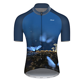 cheap Cycling & Motorcycling-21Grams Men's Short Sleeve Cycling Jersey Summer Nylon Polyester Bule / Black Butterfly Bike Jersey Top Mountain Bike MTB Road Bike Cycling Ultraviolet Resistant Quick Dry Breathable Sports Clothing