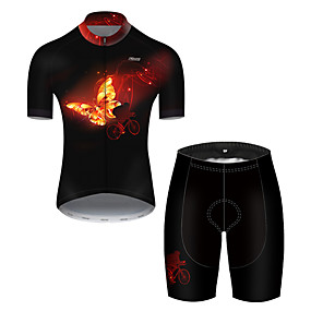 cheap Cycling & Motorcycling-21Grams Men's Short Sleeve Cycling Jersey with Shorts Summer Nylon Polyester Black / Yellow Butterfly Gradient Bike Clothing Suit 3D Pad Ultraviolet Resistant Quick Dry Breathable Reflective Strips