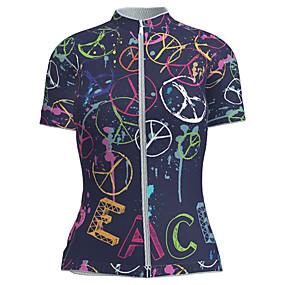 cheap Cycling & Motorcycling-21Grams Women's Short Sleeve Cycling Jersey Summer Nylon Polyester Black / Red Novelty Peace & Love Bike Jersey Top Mountain Bike MTB Road Bike Cycling Ultraviolet Resistant Quick Dry Breathable