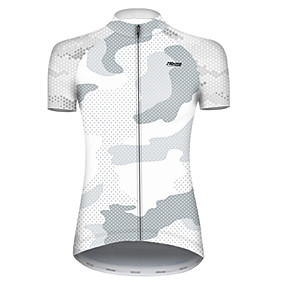 cheap Cycling & Motorcycling-21Grams Women's Short Sleeve Cycling Jersey Summer Nylon Polyester White Polka Dot Camo / Camouflage Bike Jersey Top Mountain Bike MTB Road Bike Cycling Ultraviolet Resistant Quick Dry Breathable