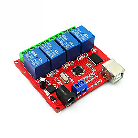 cheap Relays-4 Channel DC 12V Computer USB Control Switch Drive Relay Module PC Intelligent Controller 4-way 12V Relay Module