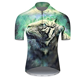 cheap Cycling & Motorcycling-21Grams Men's Short Sleeve Cycling Jersey Summer Nylon Polyester Black / Green Tiger Animal Bike Jersey Top Mountain Bike MTB Road Bike Cycling Ultraviolet Resistant Quick Dry Breathable Sports