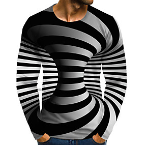 cheap Men's Tops-Men's Daily Plus Size T-shirt Graphic 3D Print Print Long Sleeve Tops Streetwear Exaggerated Round Neck Rainbow