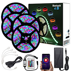 cheap LED Strip Lights-20M (4x5M) App Intelligent Control Bluetooth Music Sync Flexible Led Strip Lights 2835 RGB SMD 1080 LEDs IR 24 Key Bluetooth Controller with 12V Adapter Kit