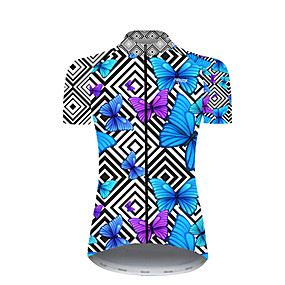 cheap Cycling & Motorcycling-21Grams Women's Short Sleeve Cycling Jersey Summer Nylon Polyester Black / Blue Plaid Checkered Butterfly Bike Jersey Top Mountain Bike MTB Road Bike Cycling Ultraviolet Resistant Quick Dry Breathable