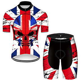 cheap Cycling & Motorcycling-21Grams Men's Short Sleeve Cycling Jersey with Shorts Summer Nylon Polyester Red+Blue Sugar Skull Skull UK Bike Clothing Suit 3D Pad Ultraviolet Resistant Quick Dry Breathable Reflective Strips Sports