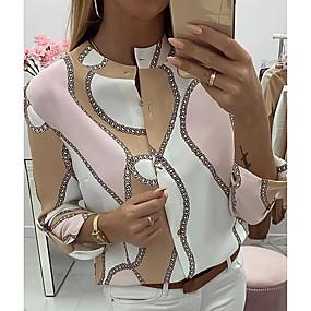 Недорогие Распродажа-Жен. Повседневные Блуза Рубашка Геометрический принт Рукав до локтя Верхушки Розовый