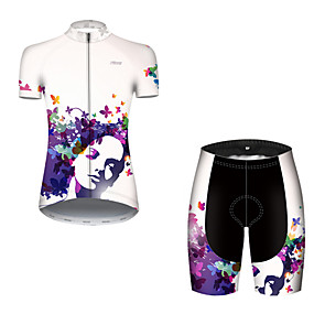 cheap Cycling & Motorcycling-21Grams Women's Short Sleeve Cycling Jersey with Shorts Summer Nylon Polyester Blue+White Butterfly Gradient Bike Clothing Suit 3D Pad Ultraviolet Resistant Quick Dry Breathable Reflective Strips