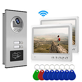 cheap Video Door Phone Systems-Multi Apartment Connect Two Indoor Monitors 9inch Large Screen Video Door Phone with 2 Way Intercom System Support Remote Control