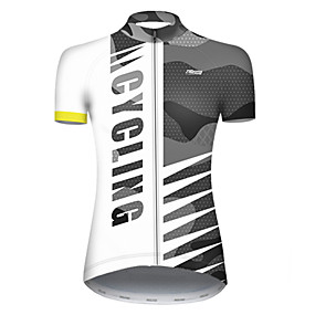cheap Cycling & Motorcycling-21Grams Women's Short Sleeve Cycling Jersey Summer Nylon Polyester Black+White Patchwork Camo / Camouflage Bike Jersey Top Mountain Bike MTB Road Bike Cycling Ultraviolet Resistant Quick Dry