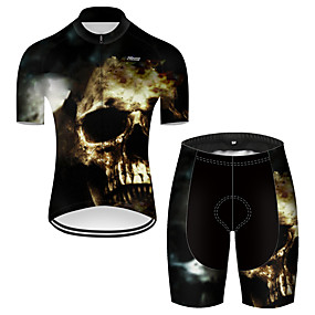 cheap Cycling & Motorcycling-21Grams Men's Short Sleeve Cycling Jersey with Shorts Summer Nylon Polyester Black+White Sugar Skull 3D Skull Bike Clothing Suit 3D Pad Ultraviolet Resistant Quick Dry Breathable Reflective Strips