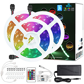 cheap WiFi Control-3x5M Light Sets RGB Strip Lights 450 LEDs 5050 SMD 10mm 1 12V 6A Adapter 1 24Keys Remote Controller 1Set Mounting Bracket 1 set RGB Christmas New Year's APP Control Cuttable Party 12 V