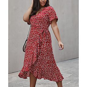 povoljno Wrap Dress-Žene Haljina A-kroja Haljina do koljena - Kratkih rukava Cvjetni print Ljeto V izrez Ležerne prilike Pamuk 2020 Red Bijela Navy Plava XL XXL XXXL XXXXL