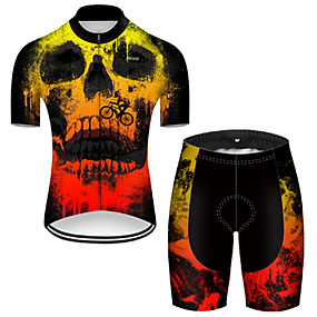 cheap Cycling & Motorcycling-21Grams Men's Short Sleeve Cycling Jersey with Shorts Summer Nylon Polyester Black / Yellow Gradient Sugar Skull 3D Bike Clothing Suit 3D Pad Ultraviolet Resistant Quick Dry Breathable Reflective