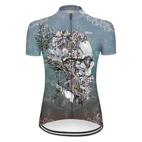 cheap Cycling & Motorcycling-21Grams Women's Short Sleeve Cycling Jersey Summer Nylon Polyester Blue Sugar Skull Novelty Skull Bike Jersey Top Mountain Bike MTB Road Bike Cycling Ultraviolet Resistant Quick Dry Breathable Sports