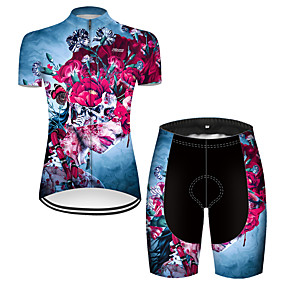 cheap Cycling & Motorcycling-21Grams Women's Short Sleeve Cycling Jersey with Shorts Summer Nylon Polyester Red+Blue Sugar Skull Skull Floral Botanical Bike Clothing Suit 3D Pad Ultraviolet Resistant Quick Dry Breathable