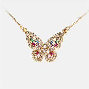 cheap Dating-Women's Pendant Necklace Long Necklace Butterfly Romantic Sweet Fashion Cute Copper White Gold Silver 20 cm Necklace Jewelry For Party Evening Prom Birthday Party Beach