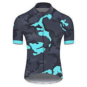 cheap Cycling & Motorcycling-21Grams Men's Short Sleeve Cycling Jersey Summer Nylon Polyester Navy Blue Patchwork Camo / Camouflage Bike Jersey Top Mountain Bike MTB Road Bike Cycling Ultraviolet Resistant Quick Dry Breathable