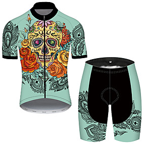 cheap Cycling & Motorcycling-21Grams Men's Short Sleeve Cycling Jersey with Shorts Summer Nylon Polyester Black / Green Sugar Skull Skull Floral Botanical Bike Clothing Suit 3D Pad Ultraviolet Resistant Quick Dry Breathable
