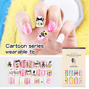 cheap Nail Art & Decoration-24pcs Cartoon Wear Manicure False Nail Patch Manicure Sweet Lovely