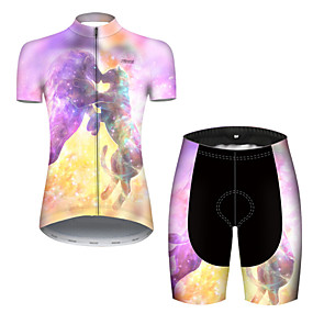 cheap Cycling & Motorcycling-21Grams Women's Short Sleeve Cycling Jersey with Shorts Summer Nylon Polyester Violet Gradient Lion Animal Bike Clothing Suit 3D Pad Ultraviolet Resistant Quick Dry Breathable Reflective Strips Sports