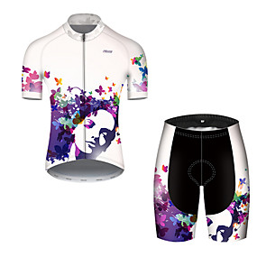 cheap Cycling & Motorcycling-21Grams Men's Short Sleeve Cycling Jersey with Shorts Summer Nylon Polyester Blue+White Butterfly Gradient Bike Clothing Suit 3D Pad Ultraviolet Resistant Quick Dry Breathable Reflective Strips Sports
