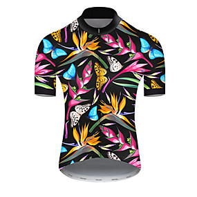 cheap Cycling & Motorcycling-21Grams Men's Short Sleeve Cycling Jersey Summer Nylon Polyester Bule / Black Butterfly Floral Botanical Bike Jersey Top Mountain Bike MTB Road Bike Cycling Ultraviolet Resistant Quick Dry Breathable