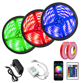 cheap WiFi Control-3x5M LED Light Strips RGB Tiktok Lights Smart Lights 450 LEDs 5050 SMD 10mm 1 24Keys Remote Controller WiFi Controller 1x5m Double-sided Tape 1 set APP Control Cuttable Linkable 12 V