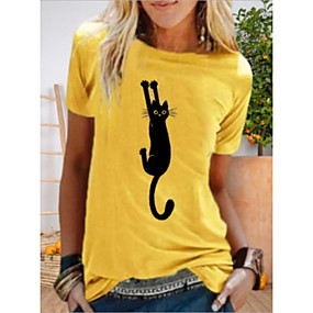 cheap Athleisure Wear-Women's T shirt Cat Printing Animal Round Neck Tops Yellow