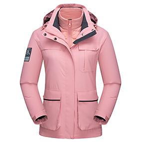 cheap Camping, Hiking & Backpacking-Wolfcavalry® Women's Hiking Down Jacket Hiking Jacket Autumn / Fall Winter Spring Outdoor Solid Color Waterproof Windproof Warm Breathable Top Full Length Hidden Zipper Hunting Fishing Climbing White