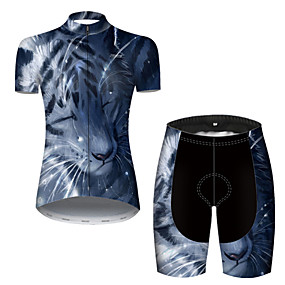 cheap Cycling & Motorcycling-21Grams Women's Short Sleeve Cycling Jersey with Shorts Summer Nylon Polyester Blue Tiger Animal Bike Clothing Suit 3D Pad Ultraviolet Resistant Quick Dry Breathable Reflective Strips Sports Tiger