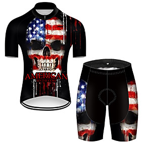 cheap Cycling & Motorcycling-21Grams Men's Short Sleeve Cycling Jersey with Shorts Summer Nylon Polyester Black / Blue Sugar Skull Skull American / USA Bike Clothing Suit 3D Pad Ultraviolet Resistant Quick Dry Breathable