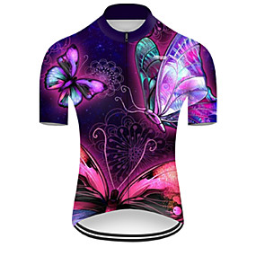 cheap Cycling & Motorcycling-21Grams Men's Short Sleeve Cycling Jersey Summer Nylon Polyester Fuchsia Butterfly Gradient 3D Bike Jersey Top Mountain Bike MTB Road Bike Cycling Ultraviolet Resistant Quick Dry Breathable Sports
