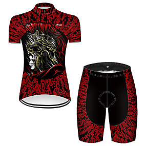 cheap Cycling & Motorcycling-21Grams Women's Short Sleeve Cycling Jersey with Shorts Summer Nylon Polyester Black / Red Sugar Skull 3D Novelty Bike Clothing Suit 3D Pad Ultraviolet Resistant Quick Dry Breathable Reflective Strips