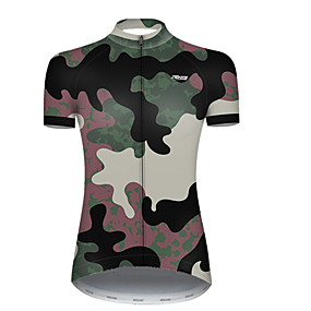 cheap Cycling & Motorcycling-21Grams Women's Short Sleeve Cycling Jersey Summer Nylon Polyester Camouflage Patchwork Camo / Camouflage Bike Jersey Top Mountain Bike MTB Road Bike Cycling Ultraviolet Resistant Quick Dry Breathable