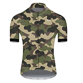 cheap Cycling & Motorcycling-21Grams Men's Short Sleeve Cycling Jersey Summer Nylon Polyester Camouflage Patchwork Camo / Camouflage Bike Jersey Top Mountain Bike MTB Road Bike Cycling Ultraviolet Resistant Quick Dry Breathable