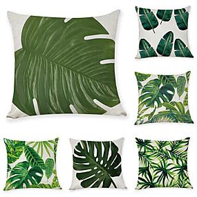 cheap Slipcovers-6 pcs Linen Pillow Cover, Botanical Casual Modern Square Zipper Traditional Classic