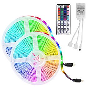 halpa Osta valaistus huoneen mukaan-led nauhavalo (2 * 5m) 10m / 32.8ft 3528 rgb 600leds 8mm nauhat valaistus joustava värinvaihto 44-näppäimellä ja kauko sopii kotikeittiöön joulutelevisio taustavalot dc 12v