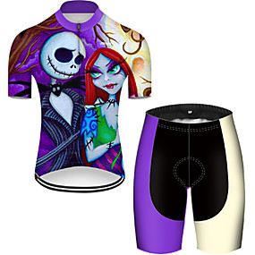 cheap Cycling & Motorcycling-21Grams Men's Short Sleeve Cycling Jersey with Shorts Summer Nylon Polyester Violet Gradient Sugar Skull 3D Bike Clothing Suit 3D Pad Ultraviolet Resistant Quick Dry Breathable Reflective Strips