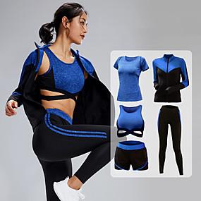 cheap Yoga & Fitness-Women's 5pcs Tracksuit Yoga Suit Winter Zipper Wirefree Fashion Purple Blue Gray Yoga Fitness Running High Waist Shorts Sports Bra Jacket Long Sleeve Sport Activewear Tummy Control Butt Lift Quick