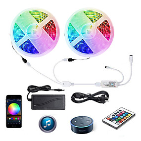 billige LED-Smart-lys-zdm wifi intelligent fjerndæmpning 2x5m 5050 smd rgb led strip belysning med ir24 nøgle controller kit