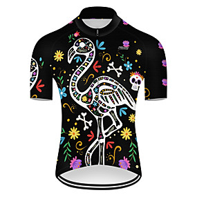 cheap Cycling & Motorcycling-21Grams Men's Short Sleeve Cycling Jersey Summer Nylon Polyester Black+White Flamingo Floral Botanical Animal Bike Jersey Top Mountain Bike MTB Road Bike Cycling Ultraviolet Resistant Quick Dry