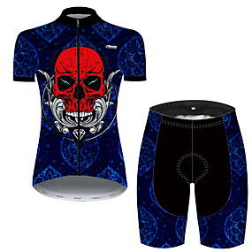 cheap Cycling & Motorcycling-21Grams Women's Short Sleeve Cycling Jersey with Shorts Summer Nylon Polyester Red+Blue Patchwork Sugar Skull Skull Bike Clothing Suit 3D Pad Ultraviolet Resistant Quick Dry Breathable Reflective