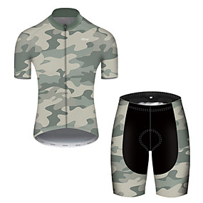 cheap Cycling & Motorcycling-21Grams Men's Short Sleeve Cycling Jersey with Shorts Summer Nylon Polyester Camouflage Patchwork Camo / Camouflage Bike Clothing Suit 3D Pad Ultraviolet Resistant Quick Dry Breathable Reflective