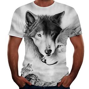 cheap Athleisure Wear-Men's Tee T shirt Shirt 3D Print Graphic Wolf Animal Plus Size Print Short Sleeve Street Tops Anime Active White Blue Black