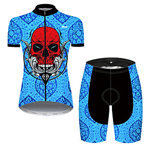 cheap Cycling & Motorcycling-21Grams Women's Short Sleeve Cycling Jersey with Shorts Summer Nylon Polyester Black / Blue Patchwork Sugar Skull Skull Bike Clothing Suit 3D Pad Ultraviolet Resistant Quick Dry Breathable Reflective