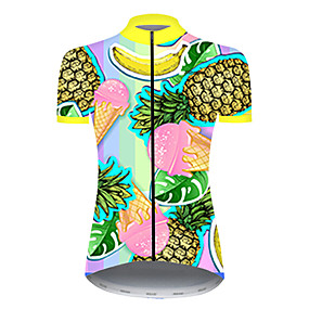 cheap Cycling & Motorcycling-21Grams Women's Short Sleeve Cycling Jersey Summer Nylon Polyester Blue+Yellow Pineapple Banana Fruit Bike Jersey Top Mountain Bike MTB Road Bike Cycling Ultraviolet Resistant Quick Dry Breathable