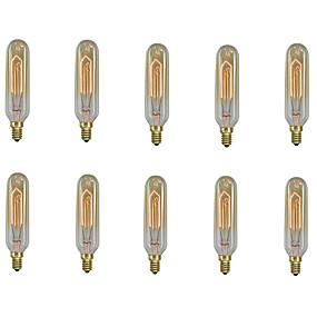 billige Elpærer-10pcs / 6pcs 40 W E14 T10 Varm hvit 2200-2700 k Kontor / Bedrift / Mulighet for demping / Dekorativ Glødende Vintage Edison lyspære 220-240 V